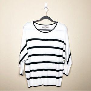 Loft scoop neck dolman sleeve striped sweater
